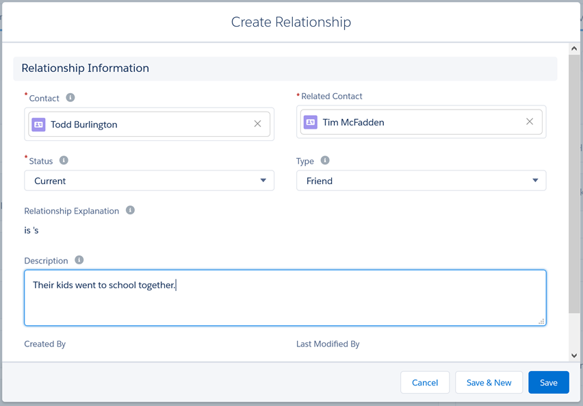 Edit relationship information
