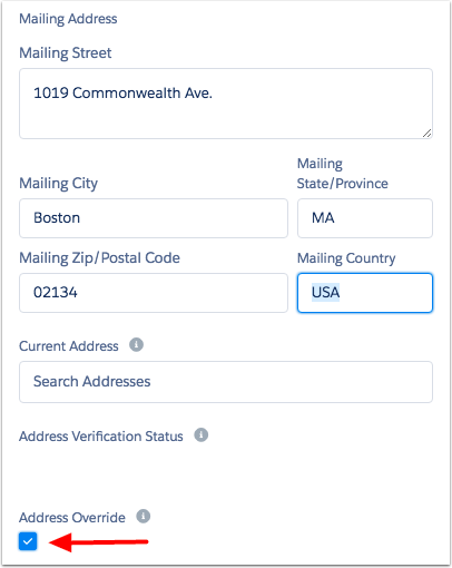 Override contact address