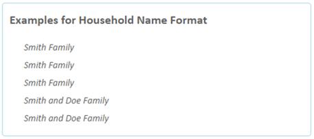 Houshold name formats