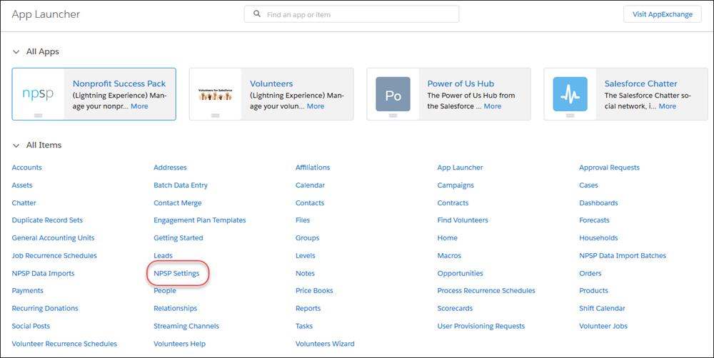 NPSP Settings in the App Launcher