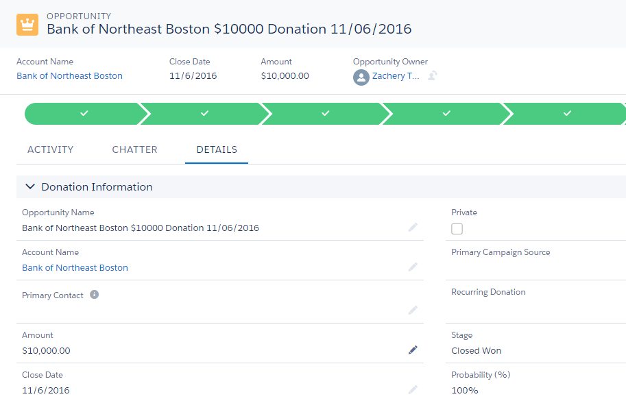 create and manage donations unit salesforce trailhead