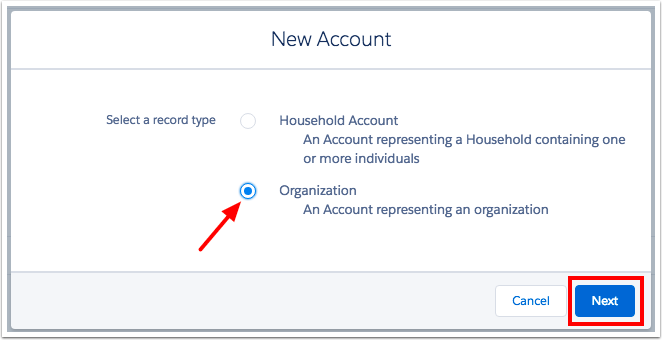 Select account record type