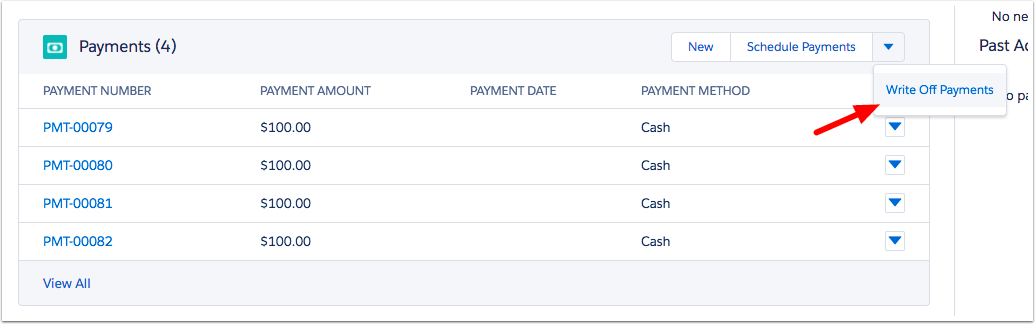 Writeoff payments