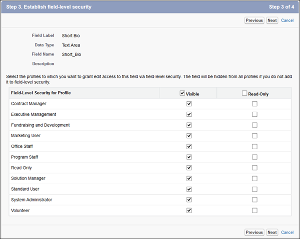 Define the field-level security for the Short Bio custom field