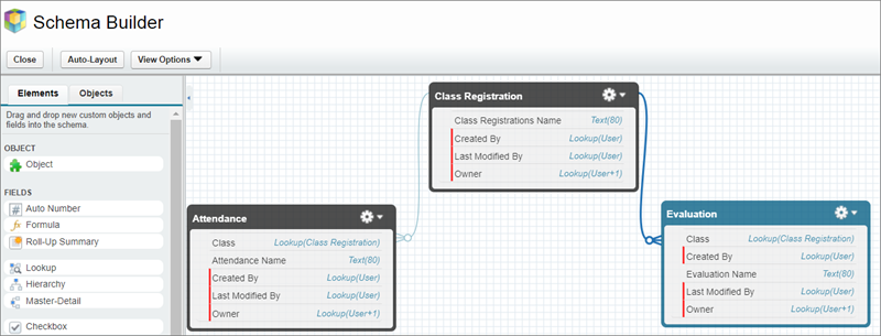 The Schema Builder is an easy drag-and-drop tool for visualizing and changing your data model
