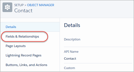 While viewing the contact object in the Object Manager in Setup, the Fields & Relationships link highlighted