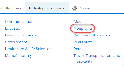 In the Industries menu on AppExchange, the Nonprofits link (highlighted)