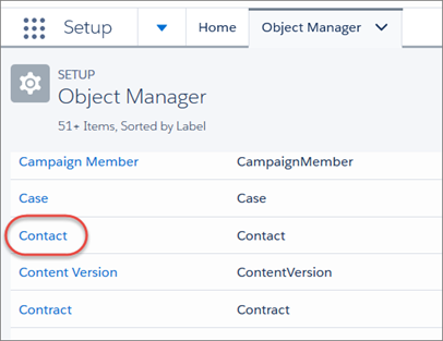 On the Object Manager tab, the Contact object highlighted