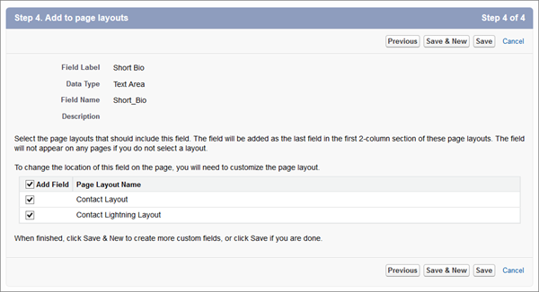 Selecting which page layouts will include a new custom field