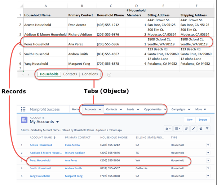 How data in a sample spreadsheet translates to data in Salesforce