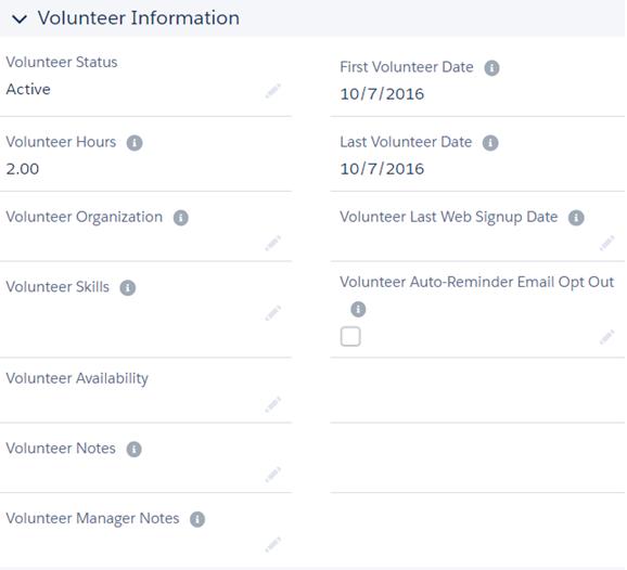 Volunteer contact information