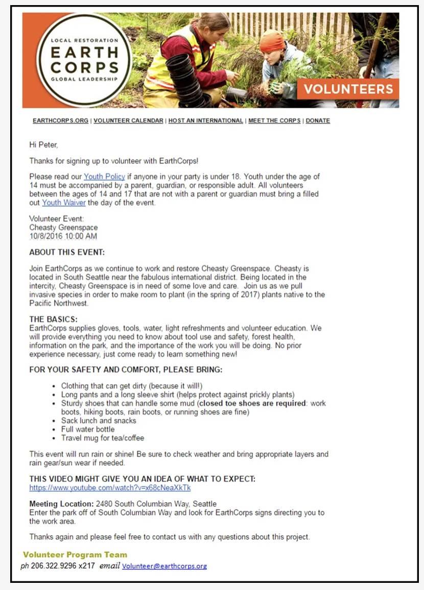 Captura de tela do email da EarthCorps em HTML personalizado.