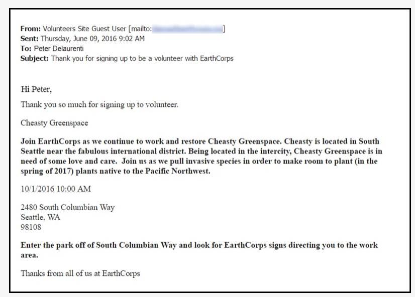 Captura de tela do texto do modelo de email Agradecimento de inscrição no trabalho voluntário.