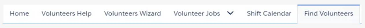 Screenshot of Find Volunteers tab.