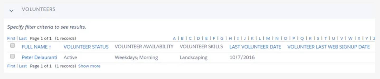 Captura de tela de contatos que correspondem aos critérios especificados.