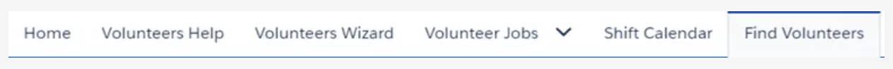 Captura de tela da guia Encontrar voluntários.