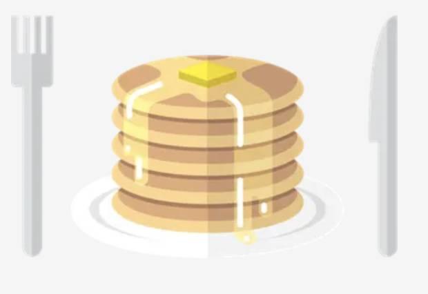 Cartoon pancakes, fork, and knife.