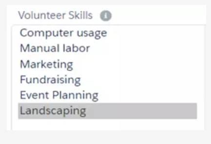 Capture d'écran de la fenêtre Compétences du bénévole.