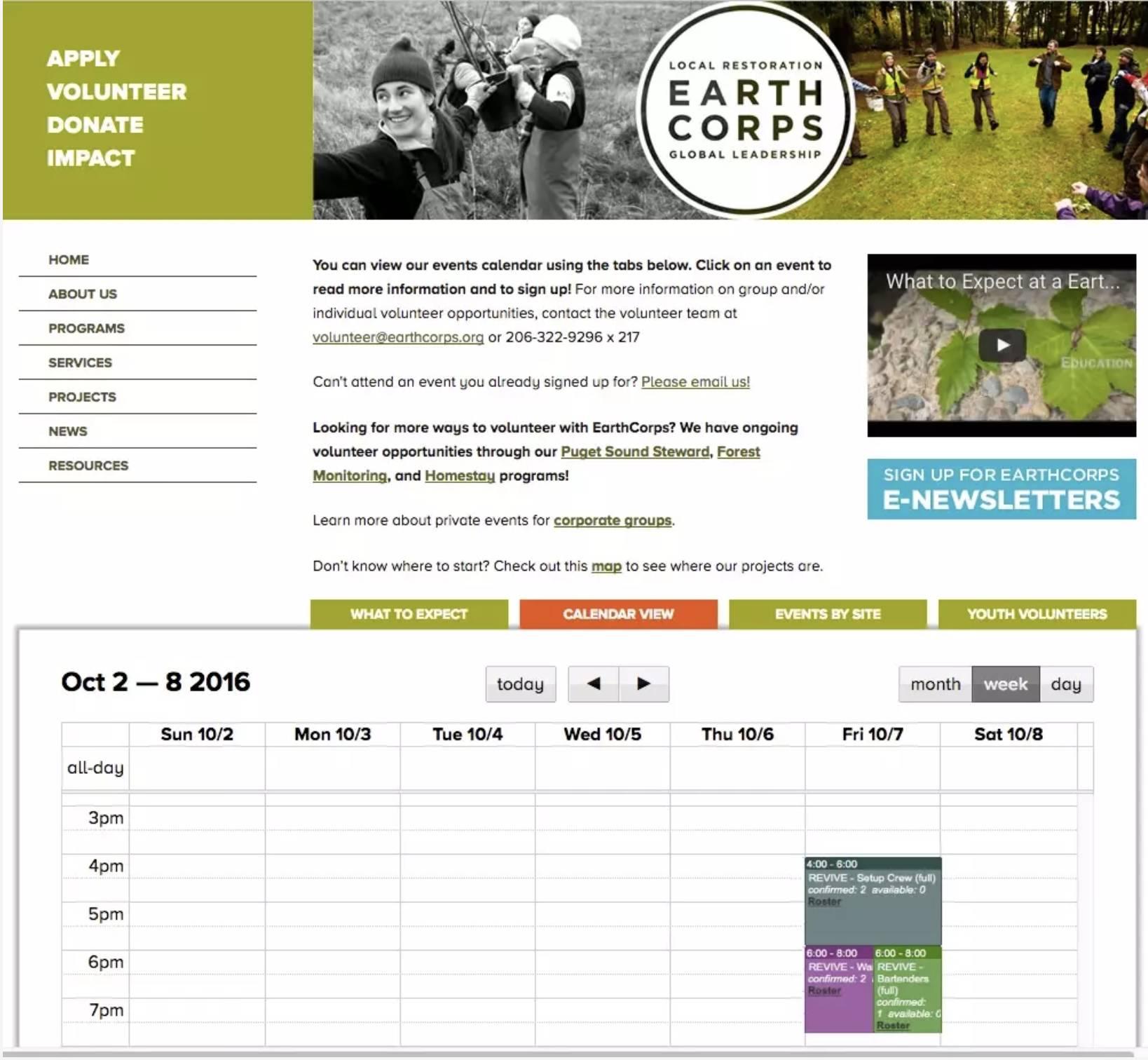 Le site Web d'EarthCorps, avec le calendrier des événements.