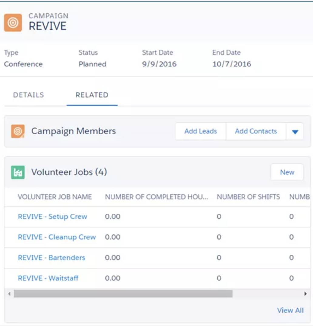 Capture d'écran de la page de détails de la campagne.