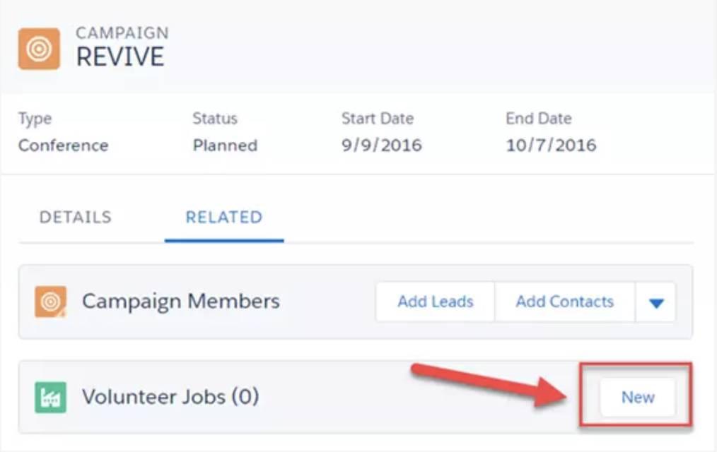Captura de tela da criação da guia Relacionados e da lista relacionada Trabalhos voluntários.