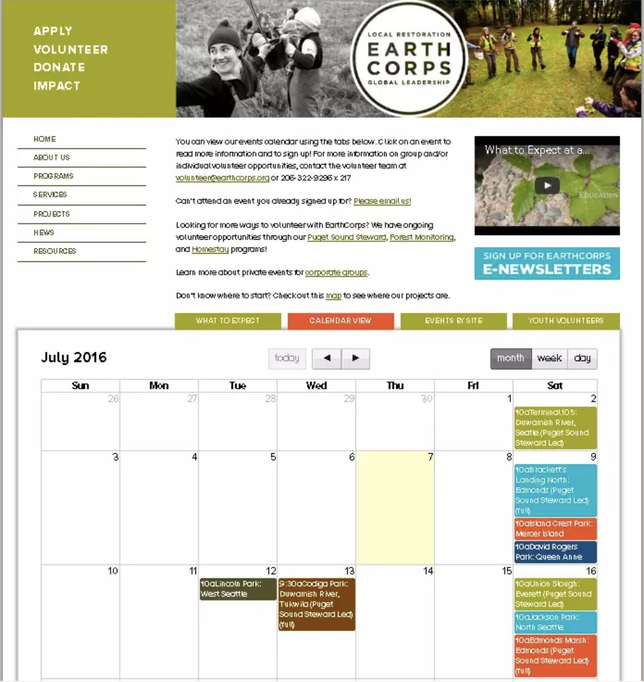 Site da EarthCorps, incluindo o calendário de eventos.