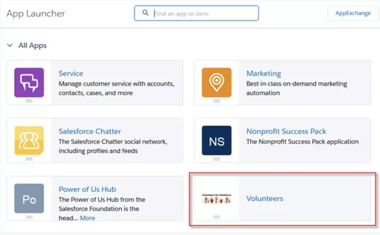 Captura de tela do aplicativo Voluntários no Iniciador de aplicativos.