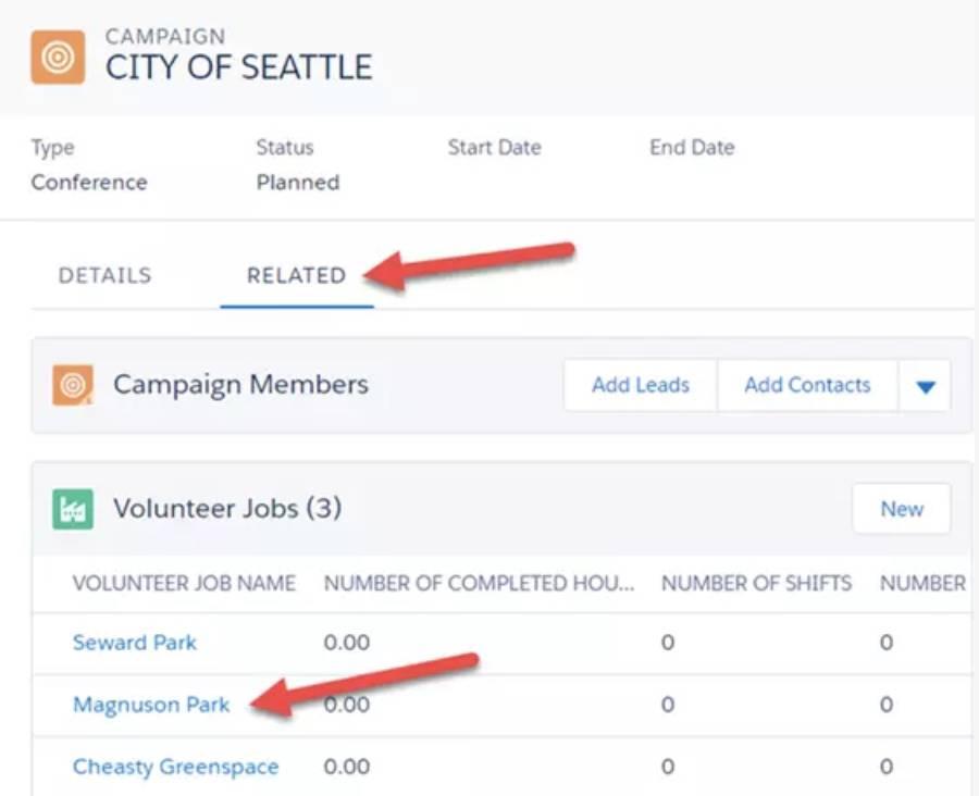 Captura de tela de Trabalhos voluntários na guia Relacionados.