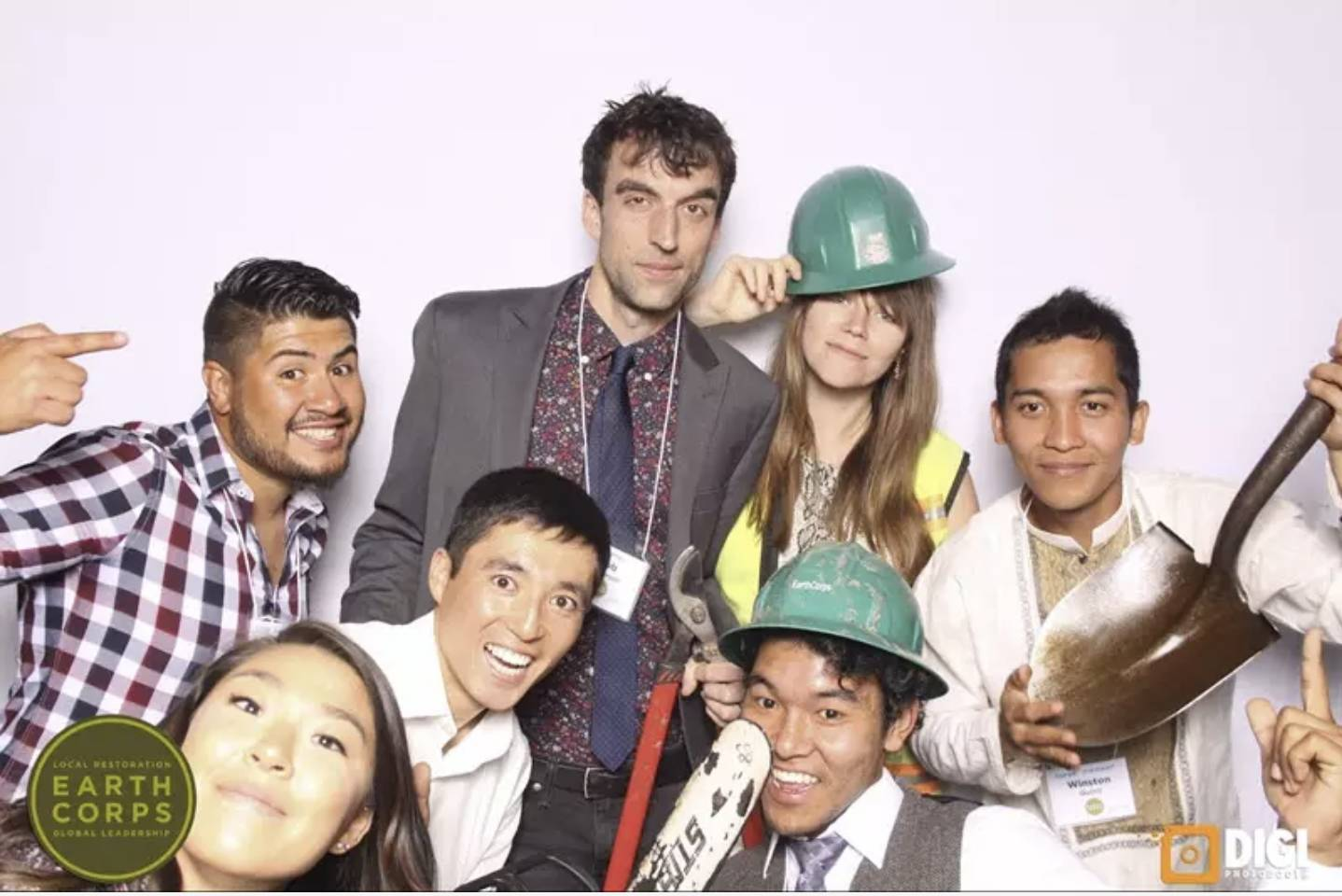 Picture of EarthCorps guest posing in a photo booth.