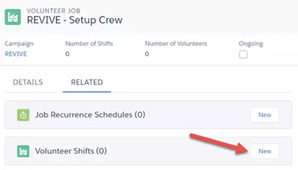 Screenshot of Volunteer Shifts creation.