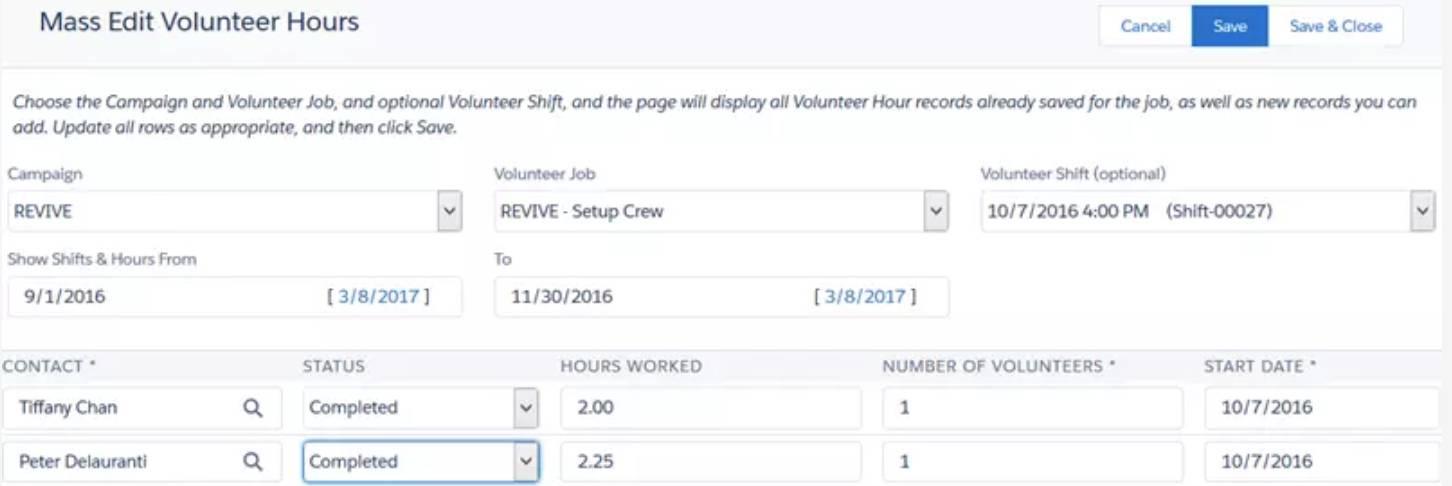 Capture d'écran de la page Modification de masse des heures de bénévolat.