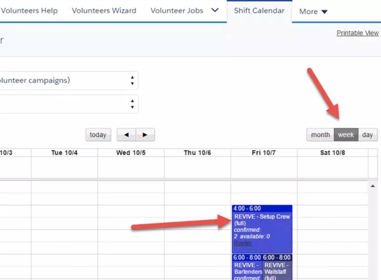 Capture d'écran du calendrier des équipes.
