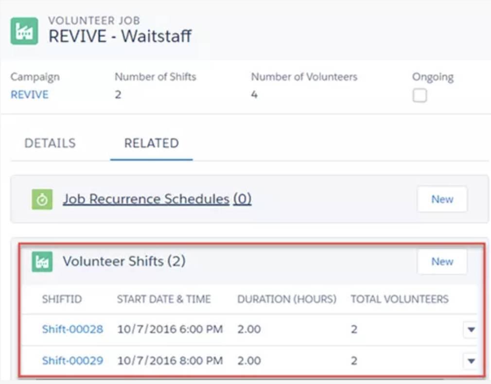Captura de tela dos turnos voluntários recém-criados.