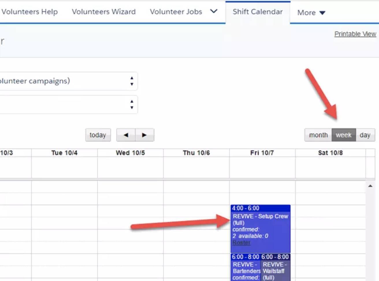 Captura de tela do calendário de turnos.