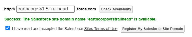 Screenshot of Sites Terms of Use check box and Register My Salesforce Site Domain button.