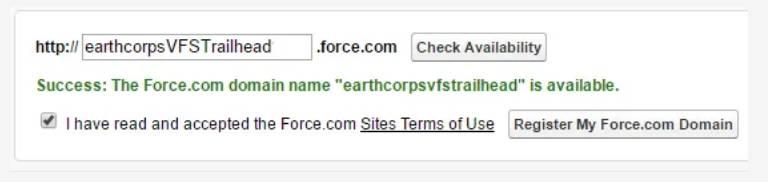 Capture d'écran de la case à cocher des conditions d'utilisation des Sites et du bouton Enregistrer mon domaine Force.com.