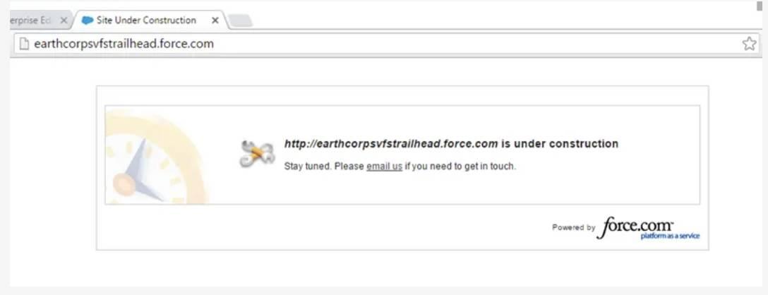 Capture d'écran de la page En construction standard.