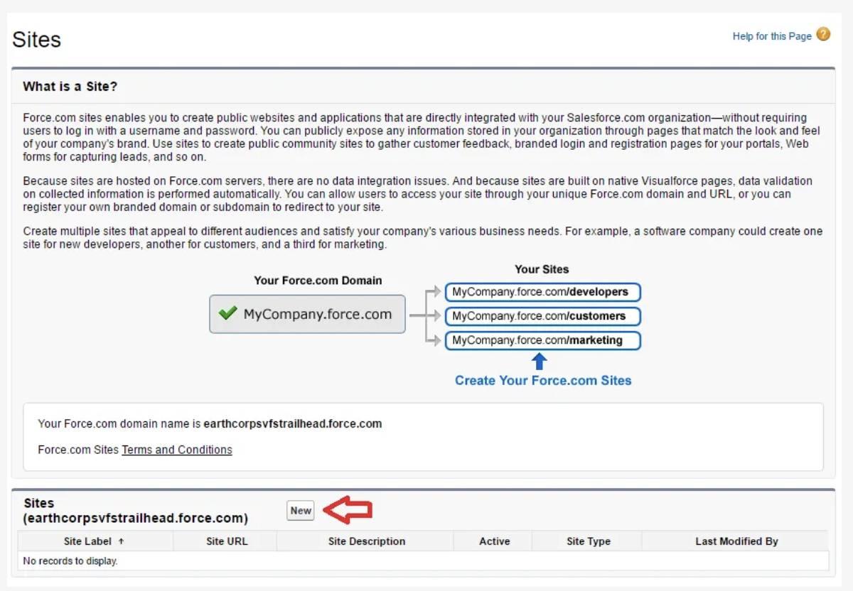 Captura de tela da página Sites.