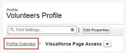 Captura de tela do botão Visão geral do perfil.