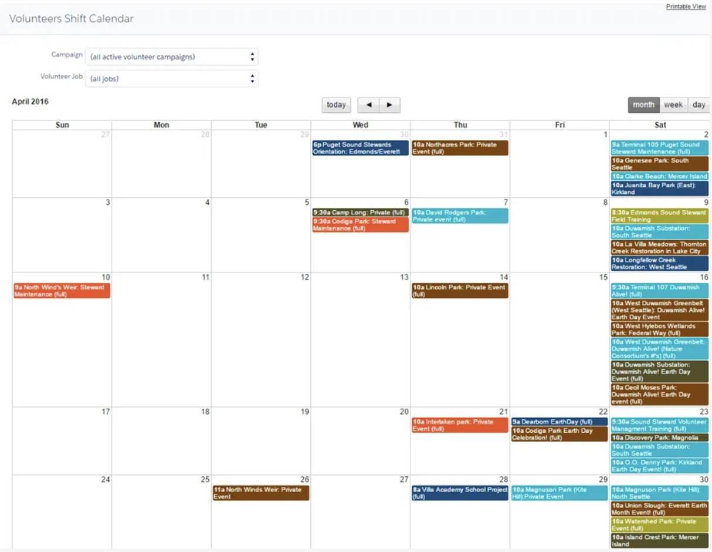 Captura de tela do calendário dos turnos voluntários.
