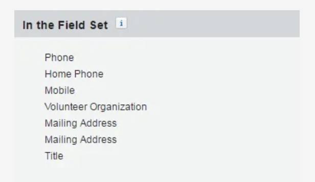 Screenshot of EarthCorps' Field Set list.