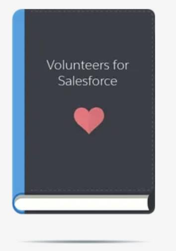Livro Volunteers for Salesforce animado com lombada azul.