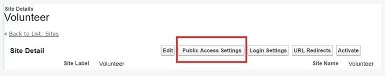 Captura de tela do botão Configurações de acesso público na página Detalhes do site.