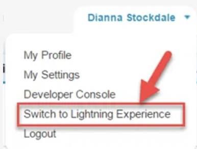 Captura de tela do botão Alternar para o Lightning Experience.