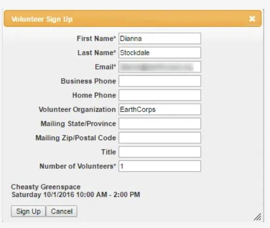 Screenshot of Volunteer Sign Up form.