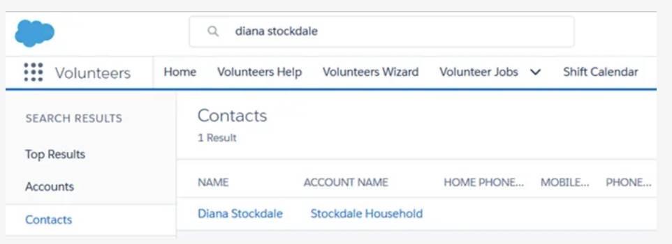 Captura de tela do registro de contato recém-criado.