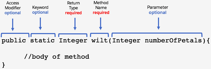 public static Integer wilt(Integer numberOfPetals){ //body of method }