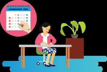 A woman sits at her desk, marking her calendar