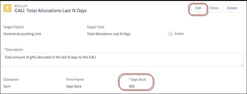Edit option for Rollup Days Back value