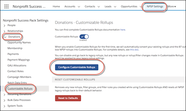 Donations - Customizable Rollups settings page